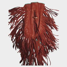 Vintage Hippie Boho Leather Beaded Pouch with Long Fringe