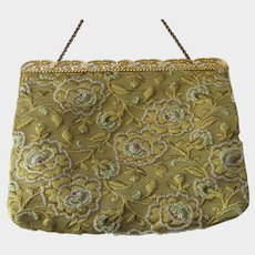 Vintage Delill Gold Embroidered & Beaded Purse