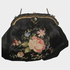 Vintage French Black Silky Satin Tambour Embroidered Purse-Beaded Frame