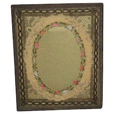 Antique French Metallic & Silk Ribbon Roses Frame-Mint Green Background