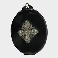 Antique Black Celluloid & Rhinestone Locket with Picture