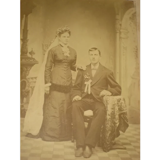 C. 1900's Large Sepia Wedding Photo of Couple on Cardboard – Dbl Sided