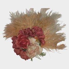 Vintage Feathers & Flowers Corsage Bouquet