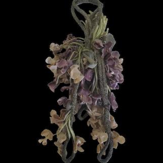 1920's Metallic Rope & Velvet Flowers Corsage Dress Accessory