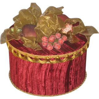 Vintage Red Crushed Velvet & Gold Metallic Trim Covered Box with Fruit