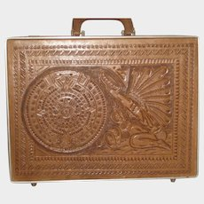 Vintage 1960's Hand Tooled Mexican Briefcase with Indian & Aztec Design