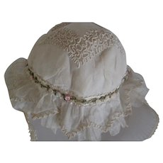 20's French Net Tulle Doll or Child Bonnet with Ribbon Work & Passenterie Trim