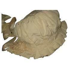 1920's Baby or Doll Bonnet Silk Faille w/Smocking, Embroidery, Crepe Ruffle & Silk Rosettes