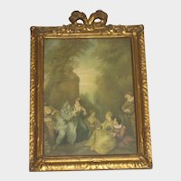 Antique French Gesso Frame with Bow & Print of Couples