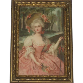 Antique French Framed Picture of Gorgeous Young Lady in Pink