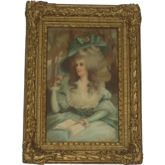 Antique French Gesso Framed Chromo of Gorgeous Young Lady in Blue