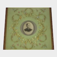 Antique French Embroidered Picture with Ribbon Work Flowers & Photo