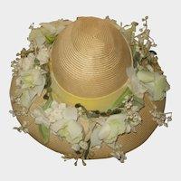 Vintage Jan Leslie Straw Hat with Band of Flowers & Velvet Ribbon