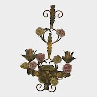 Antique French Tole Double Light Sconce with Porcelain Flowers