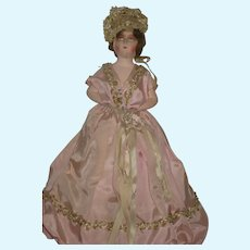 C. 20's French HP Half Doll Pin Cushion with Hair, Ornate Trim & Streaming Ribbons