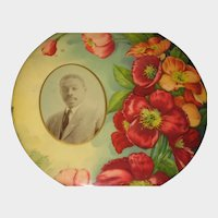 Antique Celluloid Photo Button of African American Gentleman with Mustache & Red Poppies