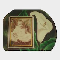 1900's Celluloid Photo Button of Baby Girl & Calla Lily-Signed & Dated