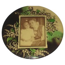 """9"""" Antique Celluloid Photo Button with Two Sisters & Flowers-Signed"""