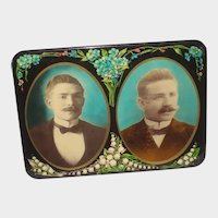 Antique Celluloid Photo Button of Two Men with Mustaches & Flowers