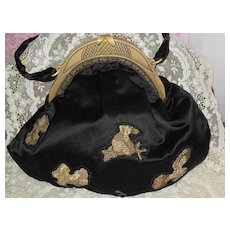 Vintage Black Silk Satin Purse w/Celluloid Frame