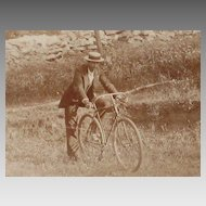 Small Antique Cabinet Card Photo-MAN with BIKE