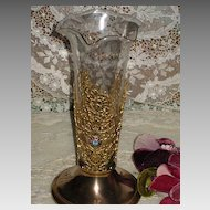 Vintage Jeweled & Lacy Gold Metal Vase w/Ruffled Glass Insert-Apollo Style