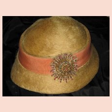 Vintage C. 20's Beaver Fur Cloche Hat w/Ornate Metallic Starburst Emblem