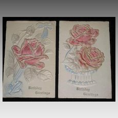 Pair of 1910 Embossed Pink Roses Birthday Cards