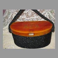 Vintage Black Beaded Box Purse w/Bakelite Top, Frame w/Initials