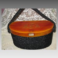 Vintage Black Beaded Box Purse w/Bakelite Top, Frame w/Initials