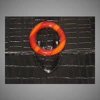 Vintage Black Patent Leather Faux Croc Purse with Huge Faux Bakelite Closure