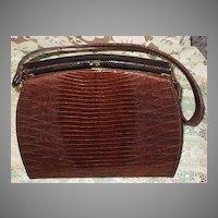 Vintage 1950's LBF, England Two-Tone Brown Lizard Purse