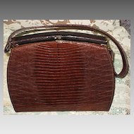 Vintage 1950's LBF, England Two-Tone Brown Lizard Purse