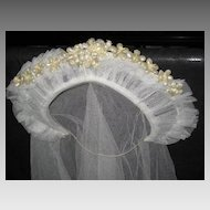 1930's Stand Up Netted Wedding Tiara w/Wax Orange Blossoms & Original Net Veil