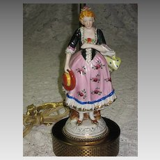 Vintage Hand Painted Porcelain Lady Figurine Lamp
