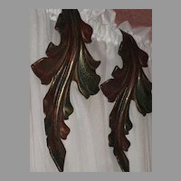 Pair of Vintage Metal Curtain Drape Tie Backs in Curved Leaf Design