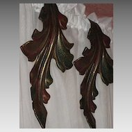 Pair of Vintage Metal Curtain Drape Tie Backs in Curved Leaf Design