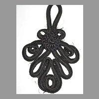 Large Antique Victorian Black Corded Appliqué