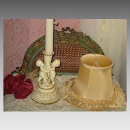 Vintage Cream Color Boudoir Lamp with Two Cherubs & Original Silk Shade-2 of 2