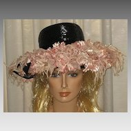 Stunning & Huge 1940's Black Wide Brimmed Hat w/Tons of Pink Fabric Flowers-H.C. Prange Millinery