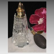 Vintage Cut Crystal Atomizer with Frosted Floral Detail
