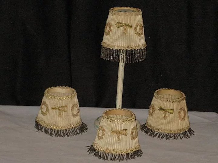 4 Vintage 1930u0027s Small Lamp Shades With Beaded Fringe U0026 French Ribbon  Appliqués