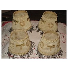 4 Vintage 1930's Small Lamp Shades with Beaded Fringe & French Ribbon Appliqués