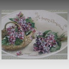 "Dated 1912 ""A Happy Christmas"" Perfumed Post Card w/Embossed Violets"