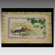 """Antique """"A Joyous Christmas"""" Embossed Post Card with Ivy & Winter Scene"""