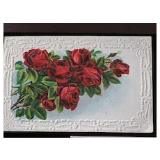 Antique Seven Red Roses German Embossed Post Card