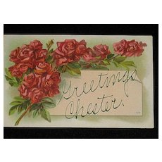 """Antique 1909 """"Greetings Chester"""" Post Card with Bunches of Red Roses"""