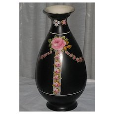 Large 1920's Crown Ducal Black Chintz Vase with Pink Roses & Swags