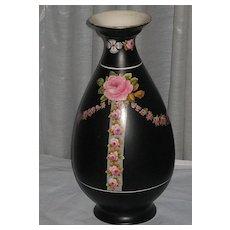 2DIE4-Large 1920's Crown Ducal Black Chintz Vase with Pink Roses & Rose Swags