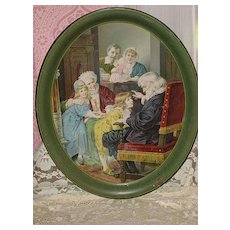 "Antique Dr. Bouvier's Buchu Gin Advertising Tray-""Grandpa's Story"" w/Children-Great Advertising on the Back"